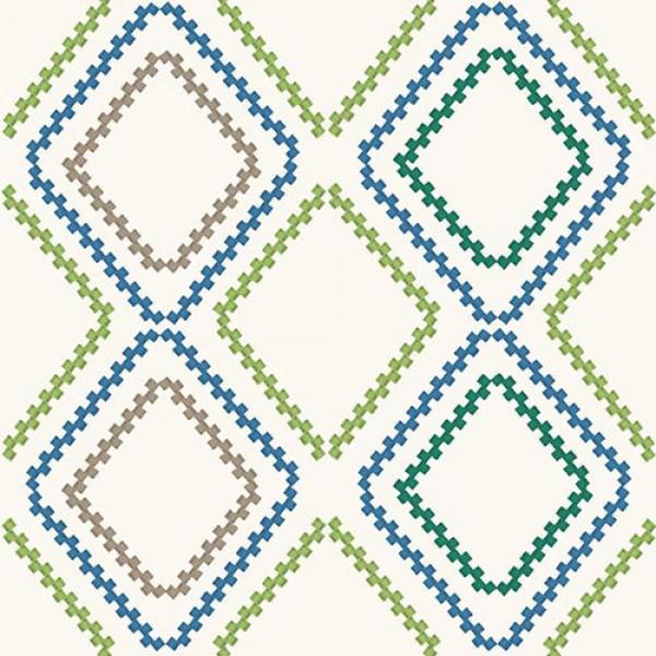 Stoffmuster Canvas Rhombus, bedruckt, grün-blau