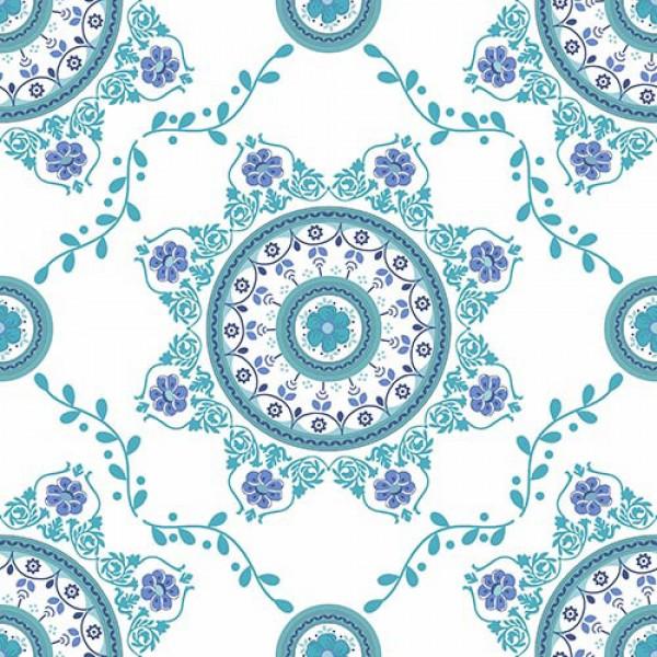 Stoffmuster Canvas Florna, bedruckt, blau-türkis
