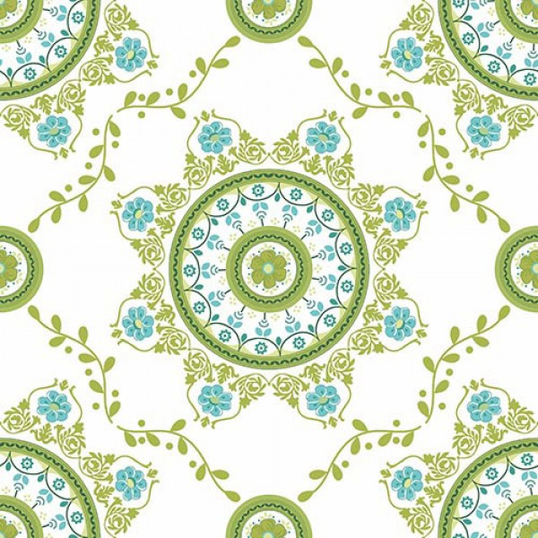 Stoffmuster Canvas Florna, bedruckt, grün-türkis