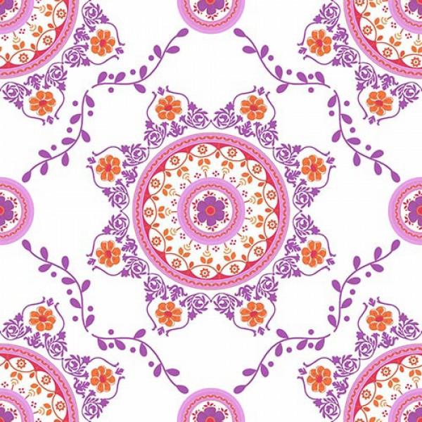 Stoffmuster Canvas Florna, bedruckt, rosa-orange-lila