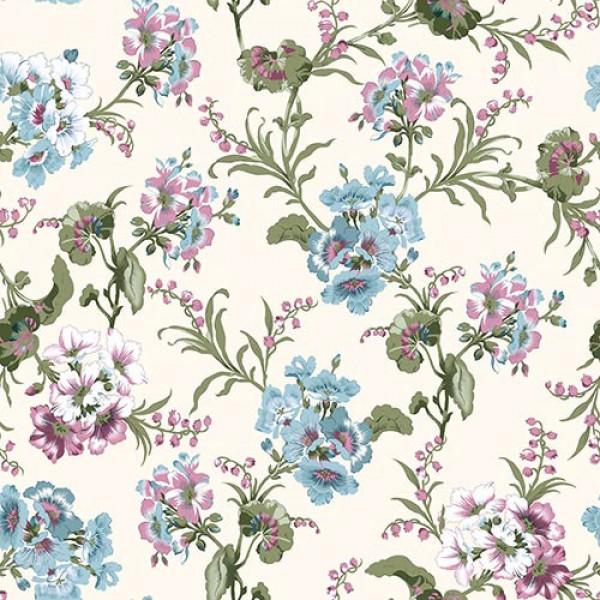 Stoffmuster Canvas Lilac, bedruckt, beige-bunt